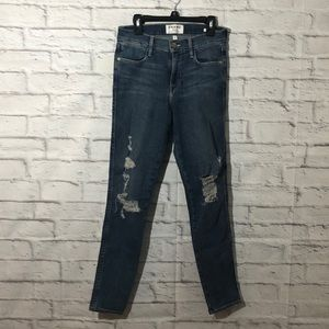 FRAME Distressed Le High Rise Ankle Skinny Jeans